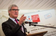 Jeremy Paxman speaking at World Homeless Day