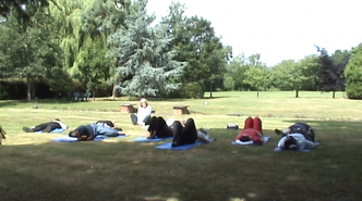 The group taking part in a Relaxation Session, led by Eve O'Keefe.