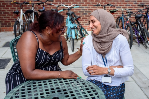 Service user and Your Space Coordinator in conversation