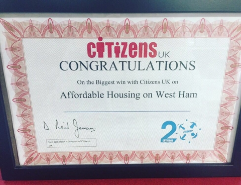 picture of Citizens UK award