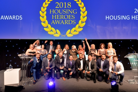 CAH staff residents and volunteers at housing heroes awards