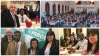 collage of staff and residents at charity walk for peace event
