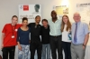 Staff and residents pictured with Sol Campell